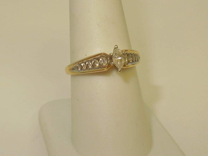 Lady's Diamond Engagement Ring 11 Diamonds .41 Carat T.W. 14K Yellow Gold 3.4g
