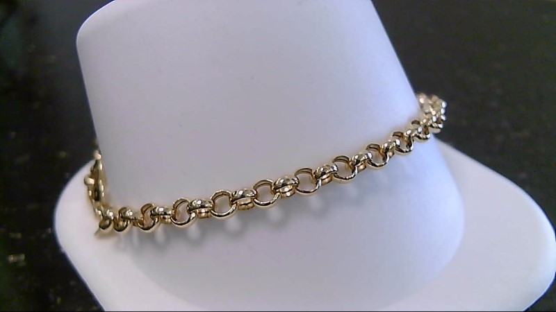 """7.5"""" Heart Gold Fashion Bracelet 18K Yellow Gold 4.1g"""