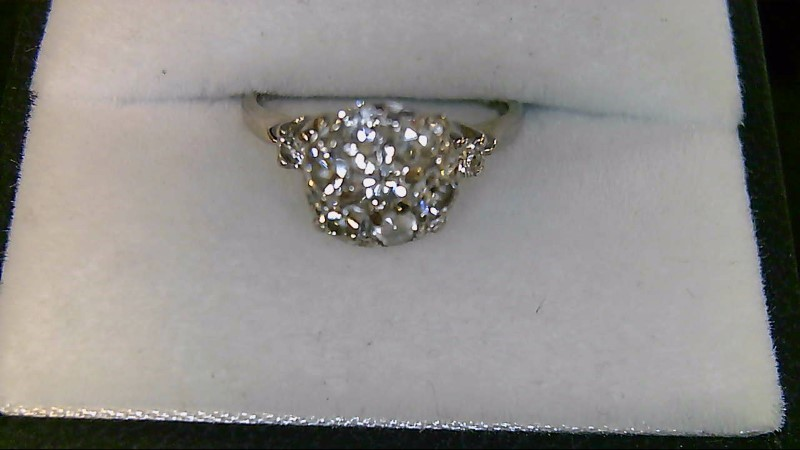 Lady's 14K White Gold Round Diamond Cluster Ring 2.4G