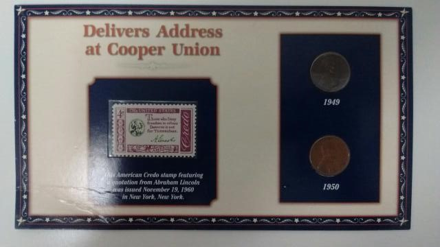 UNITED STATES Coin LINCOLN DELIVERS ADDRESS AT COOPER UNION STAMP