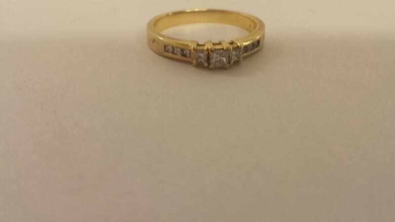 Lady's Diamond Engagement Ring 9 Diamonds .45 Carat T.W. 14K Yellow Gold 2.7dwt