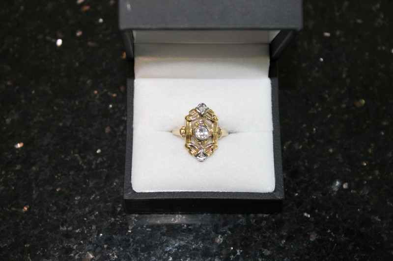 Lady's Diamond Fashion Ring 3 Diamonds .39 Carat T.W. 14K Yellow Gold 2.5g