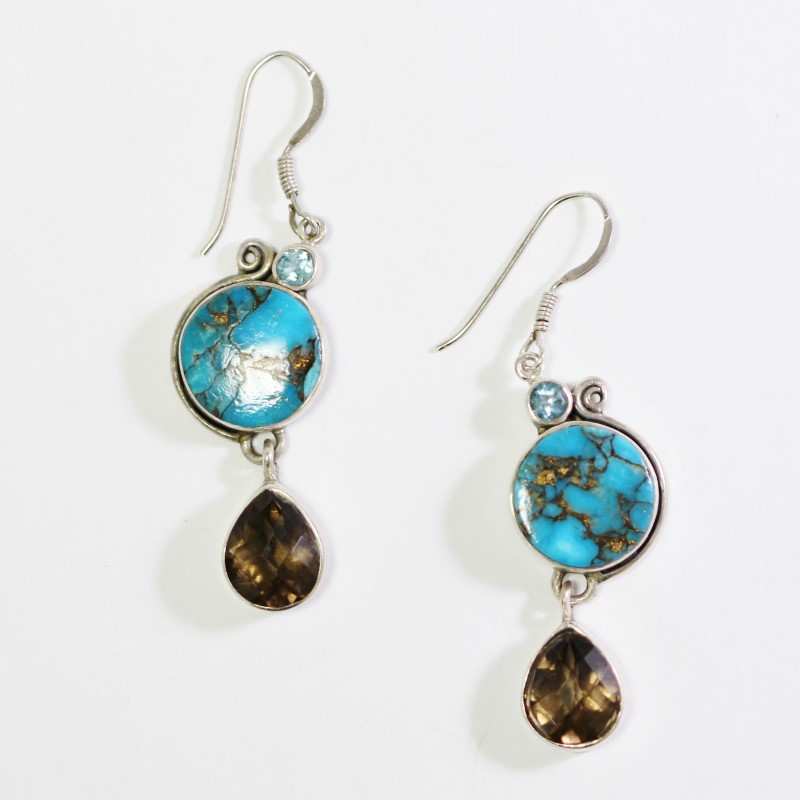 Sterling Silver Turquoise, Brown & Light Blue Stone Drop Earrings