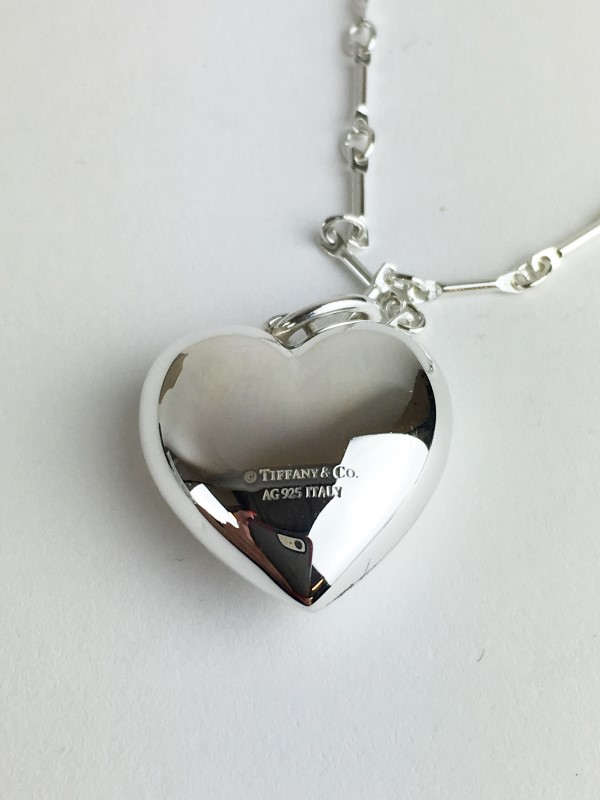 "TIFFANY & CO .925 SILVER PUFFED HEART CHARM WITH 18"" T&CO LINK CHAIN"
