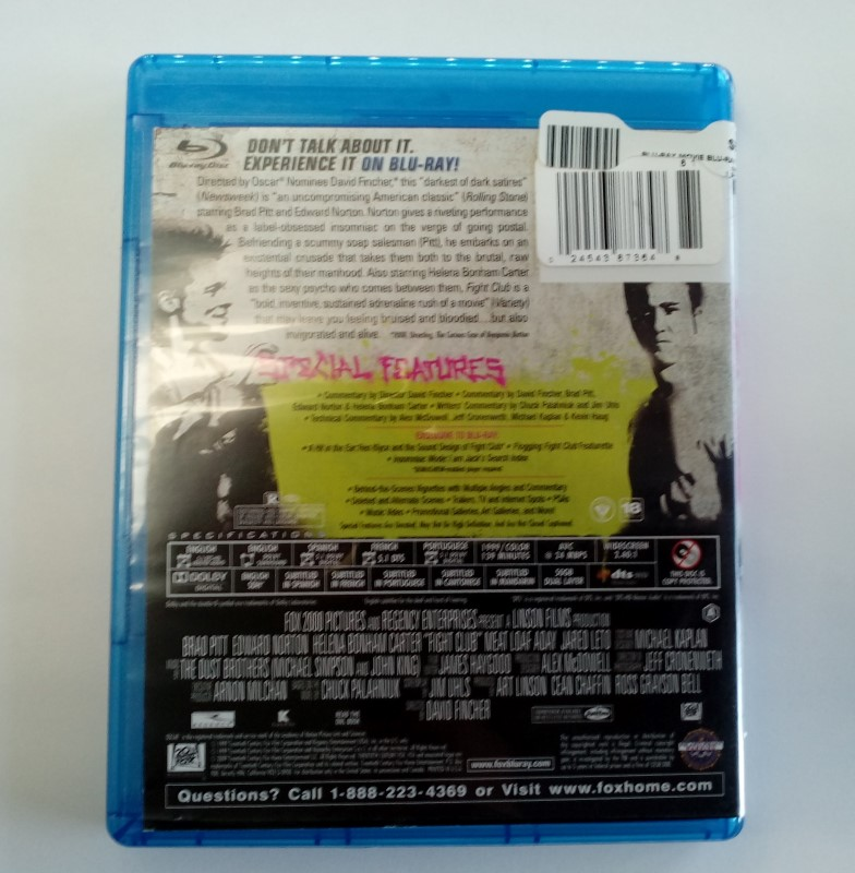 FIGHT CLUB, ACTION BLU-RAY MOVIE, STARRING EDWARD NORTON.