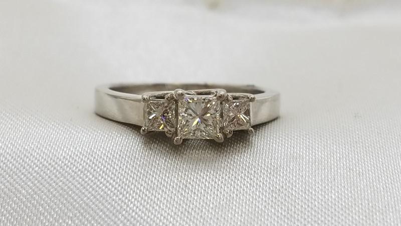 Lady's Diamond Engagement Ring 3 Diamonds .68 Carat T.W. 14K White Gold 3.7g