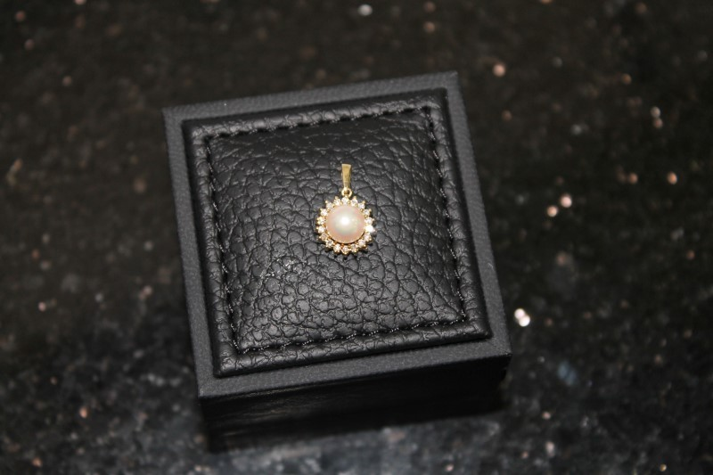 6mm White Pearl Halo Round Diamond Yellow Gold Pendant