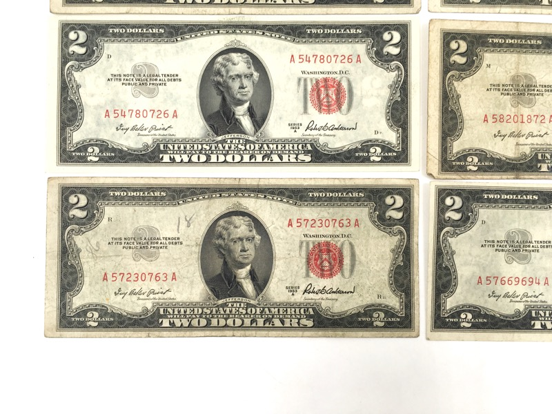 1953 A Series $2 Two Dollar Red Seal Notes - Double A Serial - Lot of 6 -