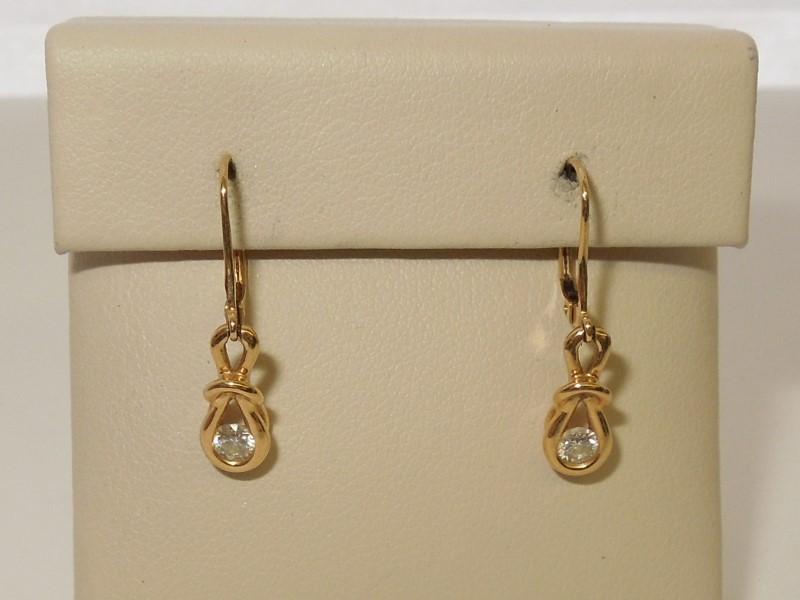 Gold-Diamond Earrings 2 Diamonds .14 Carat T.W. 14K Yellow Gold 2.1g