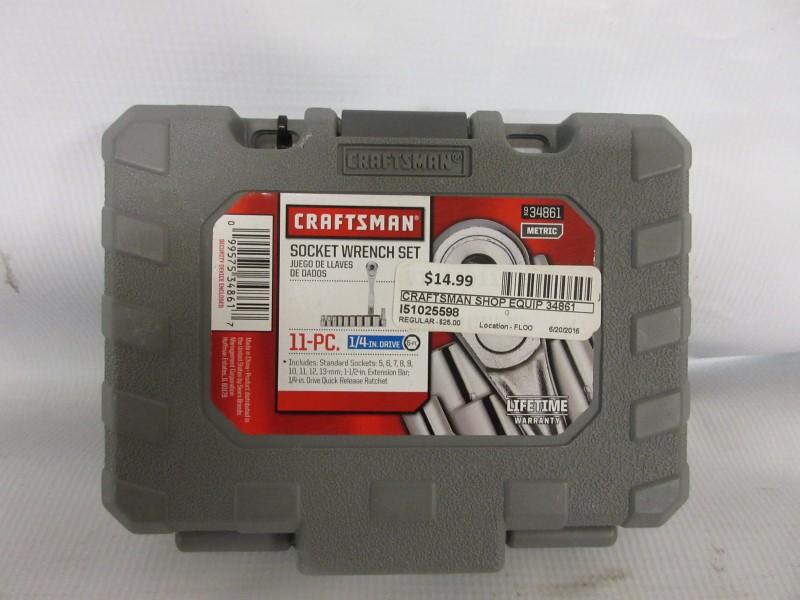 "CRAFTSMAN 1/4"" SOCKETS/RATCHET METRIC SET 934861"