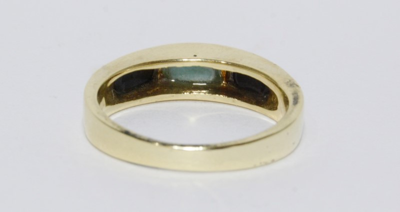 14K Yellow Gold Inlaid Light Blue Turquoise & Black Onyx Raised Ring Band s 7.25