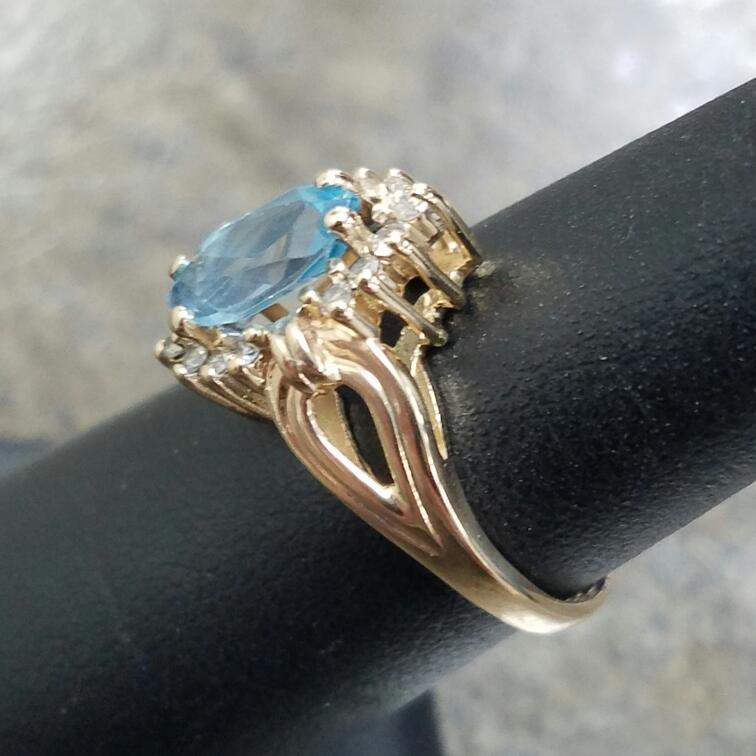 Synthetic Blue Topaz Lady's Stone & Diamond Ring 14 Diamonds .28 Carat T.W.