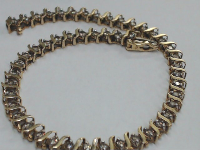 Gold-Diamond Bracelet 46 Diamonds 2.30 Carat T.W. 10K Yellow Gold 6.9g