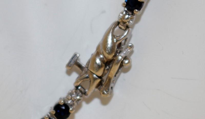 Sapphire Gold-Stone Bracelet 10K White Gold 6.48g