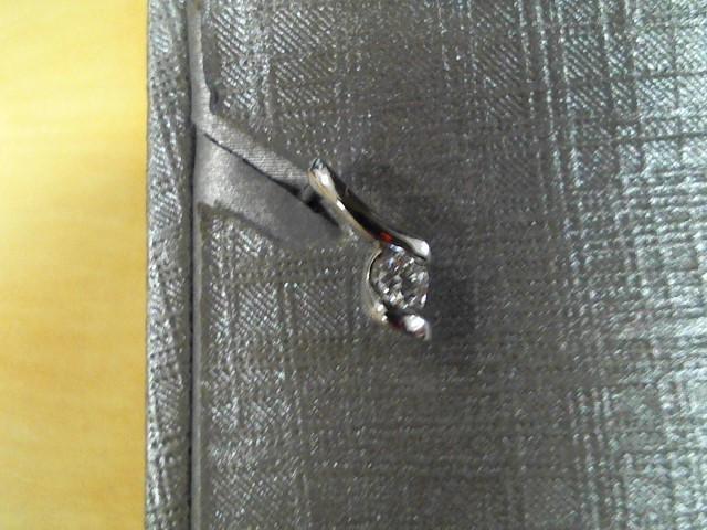 Gold-Diamond Earrings 2 Diamonds .10 Carat T.W. 14K White Gold 1g