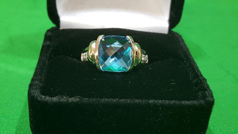 Blue Topaz Lady's Stone & Diamond Ring 4 Diamonds .04 Carat T.W. 10K White Gold