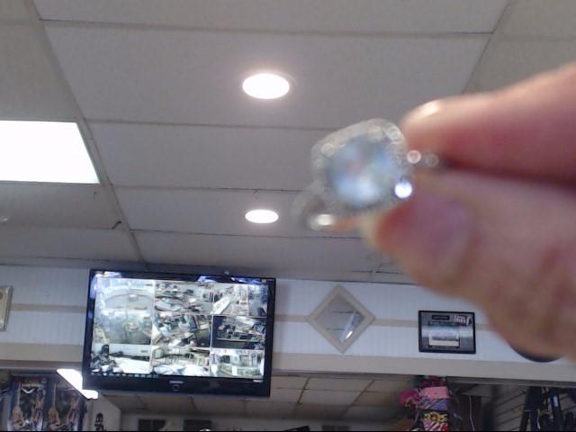 Synthetic Aquamarine Lady's Stone Ring 10K White Gold 1.5dwt