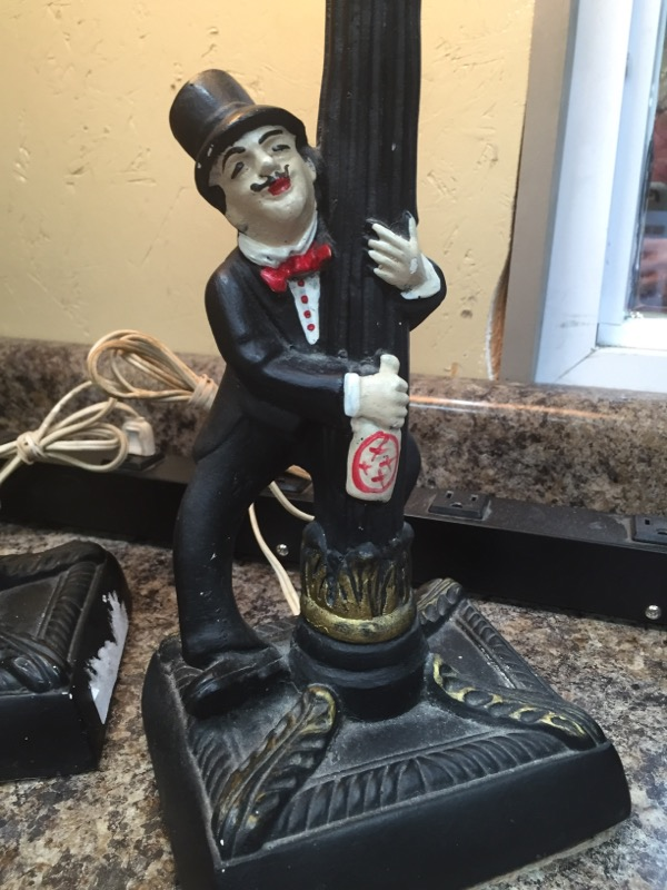 Vintage Charlie Chaplin Bar Lamps (includes 2 lamps) With Original Glass Globe