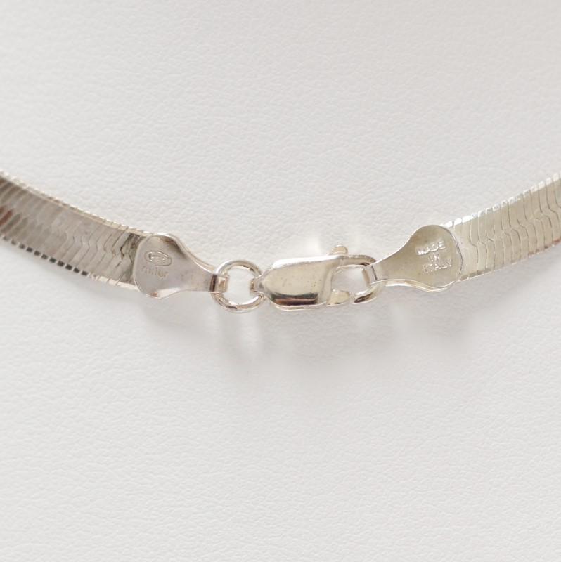 "20"" Unisex Sterling Silver Herringbone Chain"