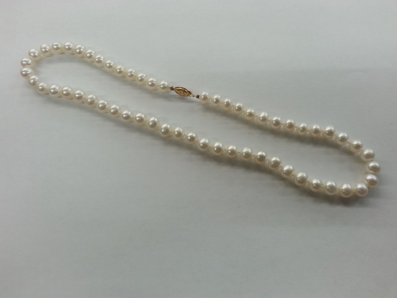 Pearl Stone Necklace 14K Yellow Gold 36.1g