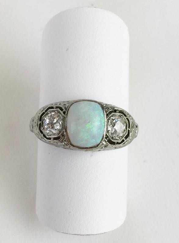 Vintage Opal Diamond Ring 2 Diamonds .40 Carat T.W. 14K White Gold 3.13g