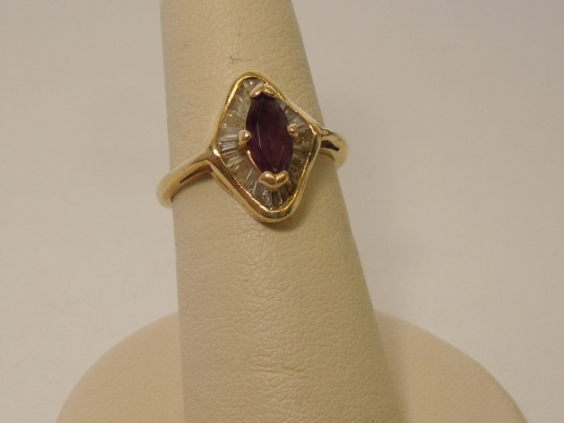 Synthetic Amethyst Lady's Stone & Diamond Ring 22 Diamonds .66 Carat T.W.