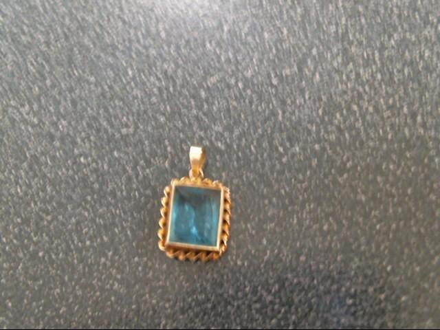 Blue Stone Gold-Stone Pendant 10K Yellow Gold 1.1g