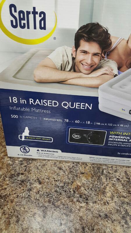 "Serta 98500916 18"" Raised Queen Inflatable Mattress"