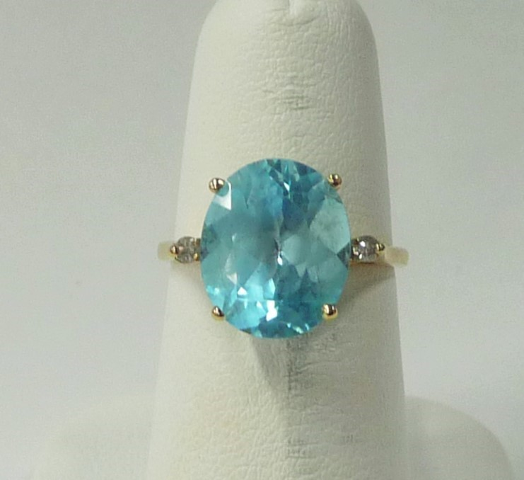 Synthetic Aquamarine Lady's Stone & Diamond Ring 2 Diamonds .06 Carat T.W.