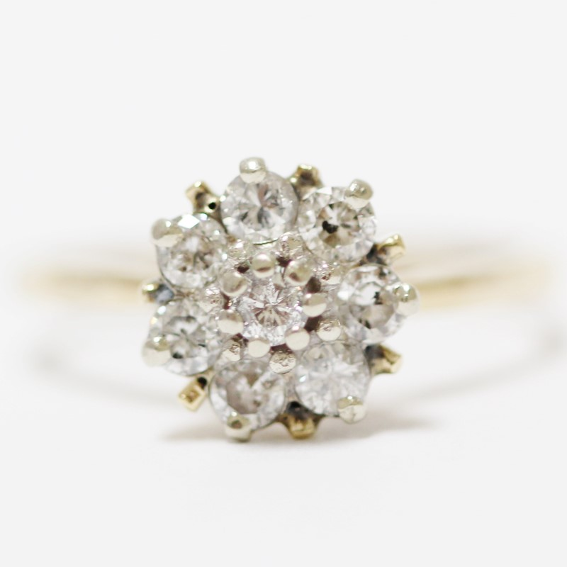 Women's 10K Yellow Gold Shared Prong Round Diamond Cluster Ring Size 10