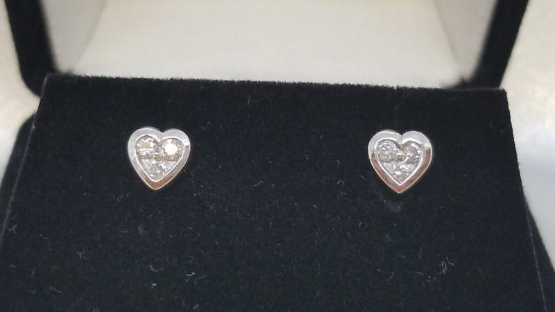 Trinity Diamond Heart Stud Earrings 18k White Gold 0.12 CTW