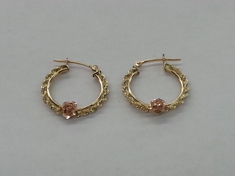 TWO TONE YG / ROSE GOLD EARRINGS