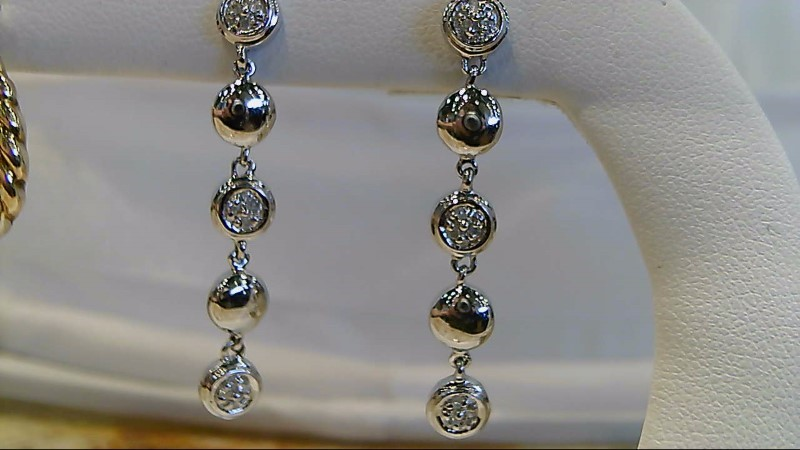 New White Gold 1/4 CTTW Round Diamond Dangle Earrings