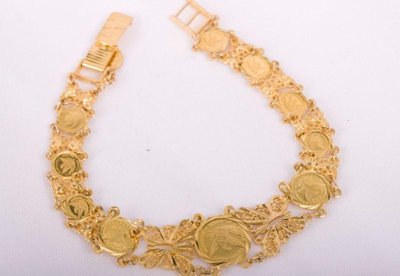 Gold Coin  Bracelet 18K Yellow Gold 15.7g