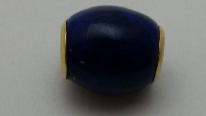 LAPIS BEAD WITH 14K Yellow Gold ENDS  2.5g