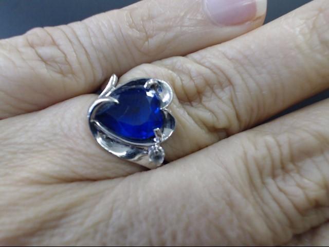 ESTATE BLUE HEART CUT RING SOLID 14K WHITE GOLD LOVE PROMISE SZ 5.5
