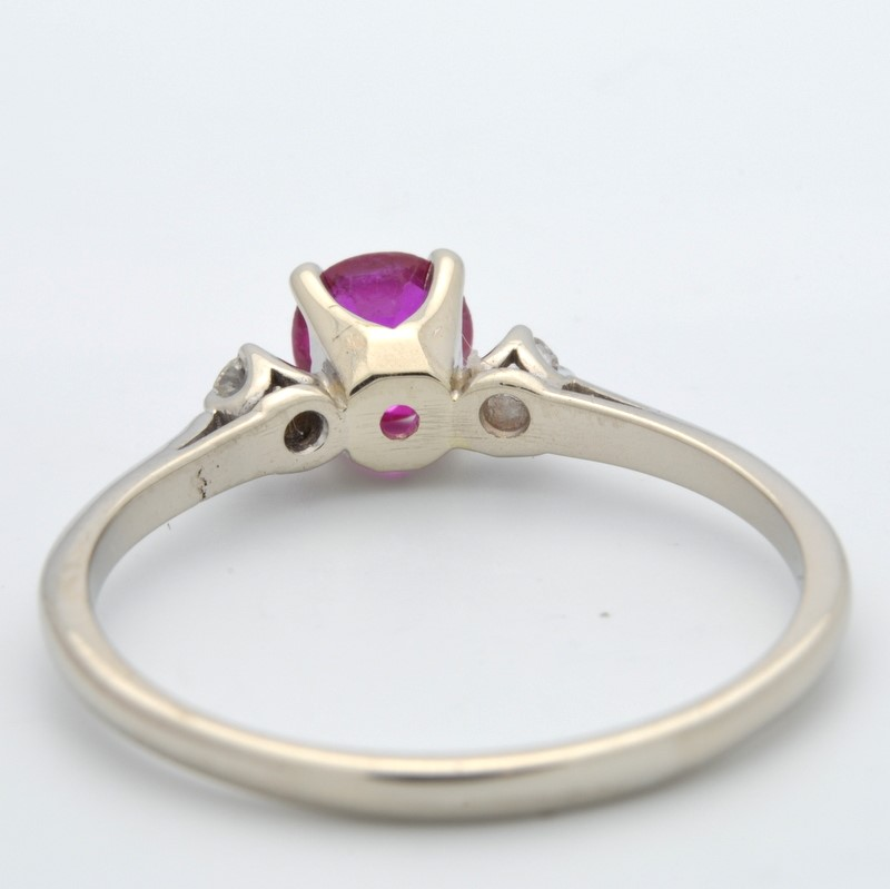 ESTATE DIAMOND RED STONE RING SOLID 10K WHITE GOLD ROUND SIZE 8.75