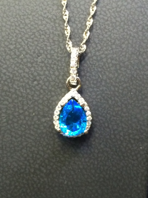 Blue Stone Silver-Stone Pendant 925 Silver 1.5g