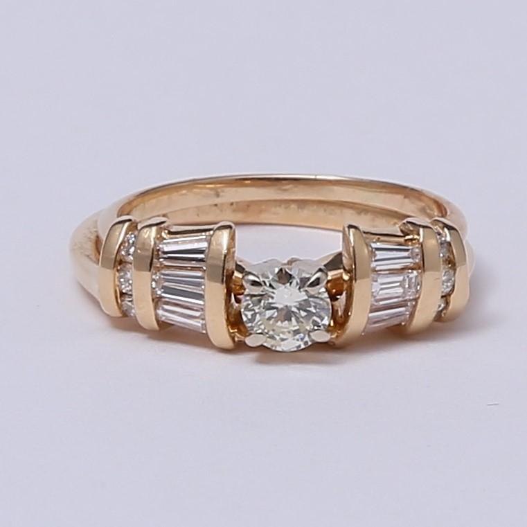 14K Y/G Round & Baguette Cut Diamond Wedding Set Sizes 6.5 & 5.75