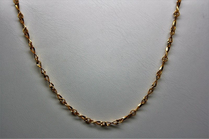 "16"" FANCY LINK CHAIN 18K YELLOW GOLD"