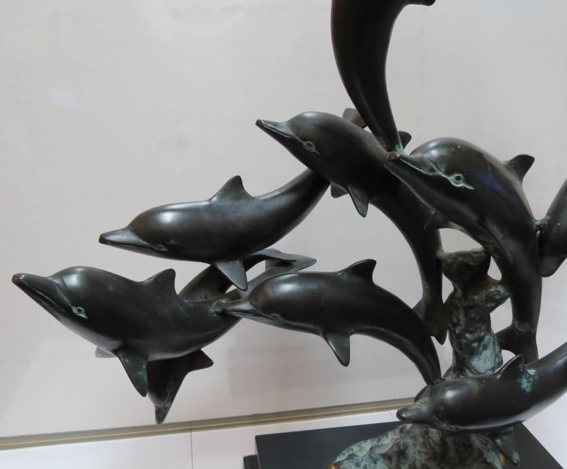 "SAN PACIFIC INTERNATIONAL/SPI 29"" BRONZE SCULPTURE OF SWIMMING DOLPHIN POD OF 15"