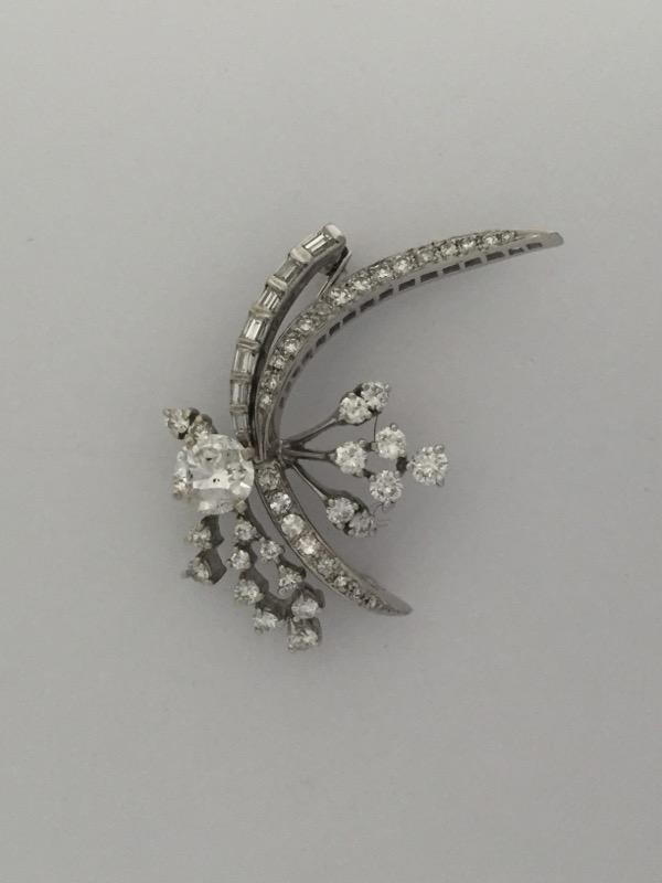 Antique Gold-Diamond Brooch 57 Diamonds 3.14 Carat T.W. 14K White Gold 7.9g
