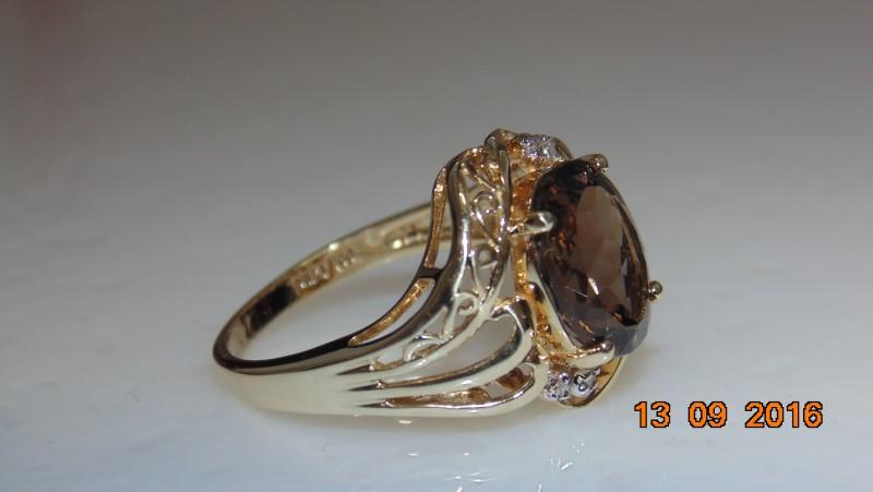 BROWN STONE WITH 4 DIAMONDS 10K YG SZ.7
