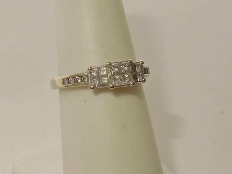 Lady's Gold-Diamond Anniversary Ring 20 Diamonds .64 Carat T.W. 14K White Gold