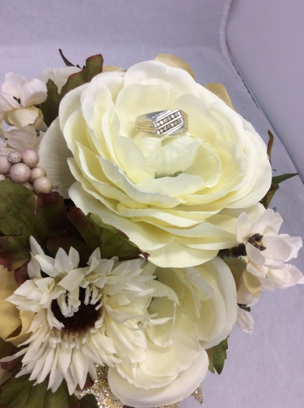 Gent's Silver-Diamond Ring 12 Diamonds .36 Carat T.W. 925 Silver 5.04g