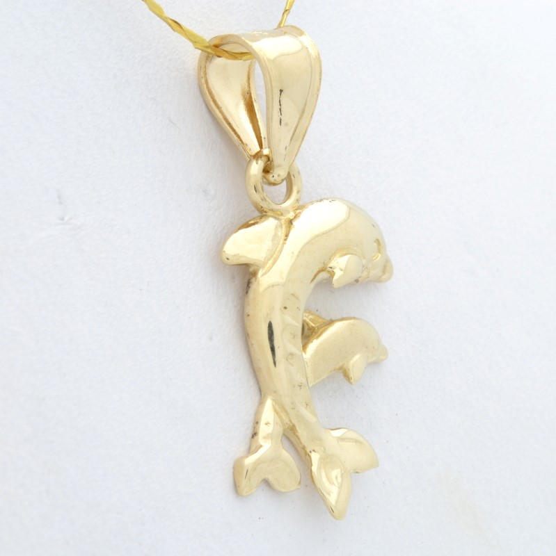 DOUBLE DOLPHIN CHARM PENDANT SOLID REAL 14K GOLD JUMPING TWIN OCEAN