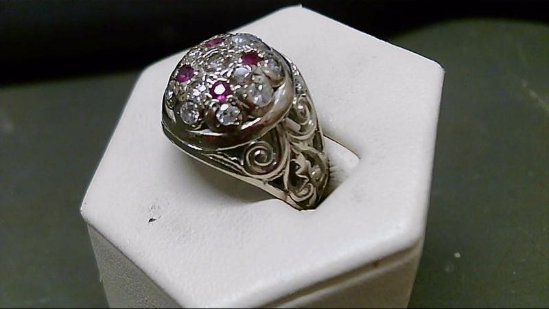 Ruby Gent's Stone & Diamond Ring 13 Diamonds 1.35 Carat T.W. 14K White Gold