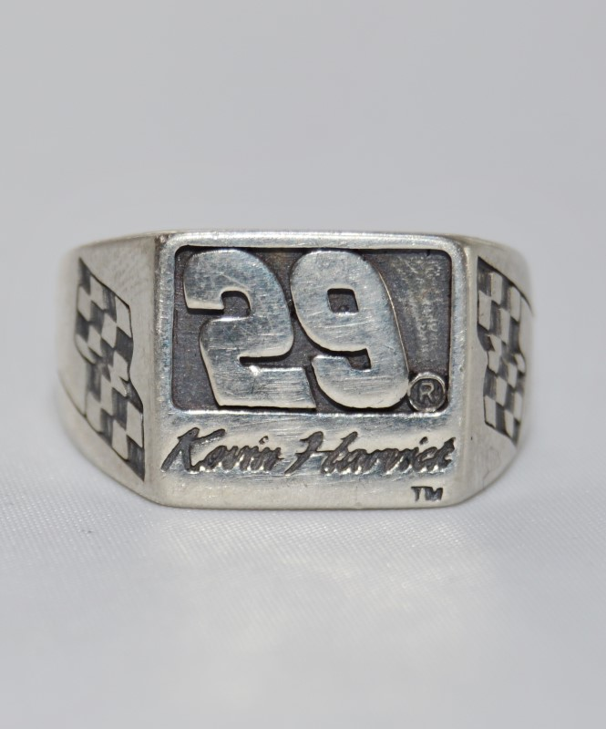 Men's Sterling Silver NASCAR's Kevin Harvick #29 Checkered Flag Ring
