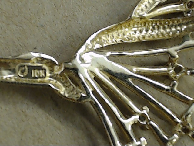 "ESTATE DIAMOND FLORAL PENDANT NECKLACE SOLID REAL 10K GOLD 7.7g 18"""