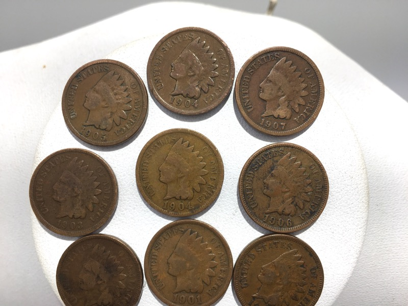 U.S. Indian Head Head Cent Pennies - Lot of 9 -